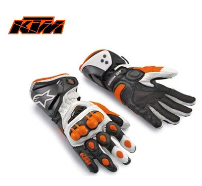 New Full Finger Long Cuff Armour Protective Knight KTM Motorcycle Leather Gloves
