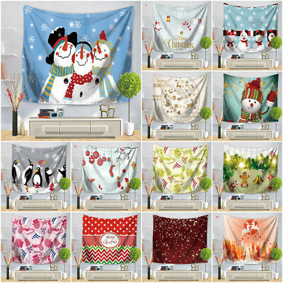 Christmas Snowman Tree Wall Hanging Decor Xmas Party Tapestry Curtain Bedspread