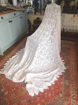 Beautiful Large Vintage Hand Knitted White Cotton Throw~French Chateau~Day Bed