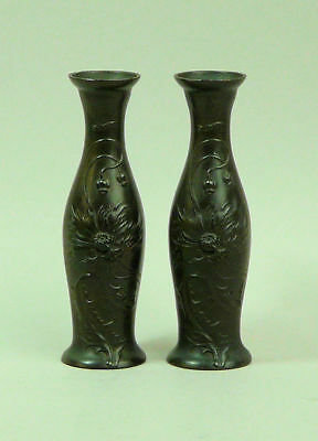 Art Nouveau Pair Of Bronzed Spelter Vases (Seal Marks To The Base) C.1905