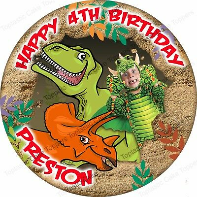 Personalised Dinosaurs + Own Face Photo Edible Icing Birthday Party Cake Topper