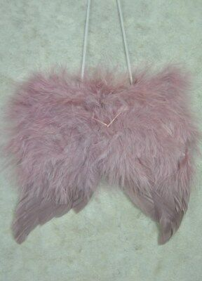 Hanging Dusky Pink Feathered Angel Wings Decoration