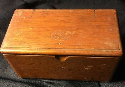 Antique 1889 Singer Sewing Machine Parts Accessories Oak Wood Puzzle Box Nice!