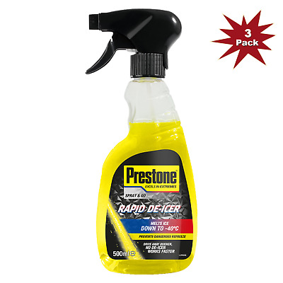 Prestone De-Icer Trigger Melts Ice Down to -40°C 500ml - 3pk + Ice Scraper