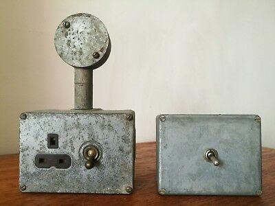 Vintage Industrial Metal Electric Plug Socket & Light Switch With Dolly Switches