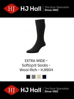 Mens HJ Hall Softop® HJ190 Extra Wide Wool Rich Non-Elastic Socks UK 6-13
