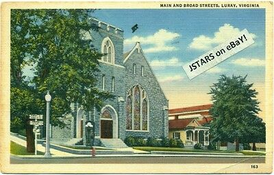 c. 1942 LURAY, VA, METHODIST CHURCH, PAGE VALLEY NATIONAL BANK POSTCARD