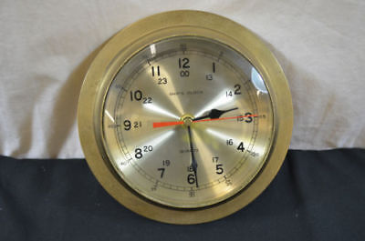Solid Brass Ship's Clock Vintage Round Nautical 8'' WORKS 1510 #2