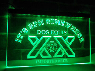 Dos Equis XX Beer 5AM Somewhere LED Neon Sign Light Plate Flag Bar Club Pub Gift