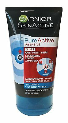 GARNIER PURE ACTIVE INTENSIVE 3 IN 1 ANTI PUNTI NERI CARBONE VEGETALE 150ml