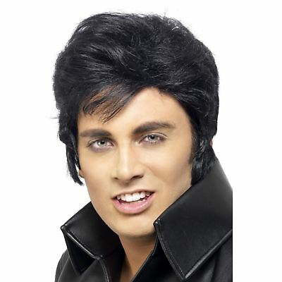 Mens 60s Rock and Roll Legend Elvis Presley Quiff Wig Grease Danny Zuko Stag Do