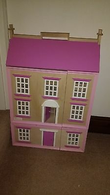 4 floor wooden dolls house with 12 items of furniture