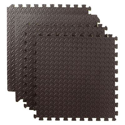 Black Interlocking Soft EVA Foam Floor Mat Tiles Exercise Yoga Gym Home Garage