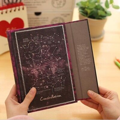 A5 Constellation Purple Hard Cover Magnetic Snap Retro Journal Diary Notebook
