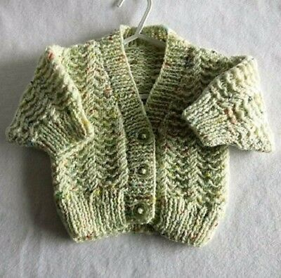 Hand Knitted Baby Aran Cardigan (New) 0-3 months