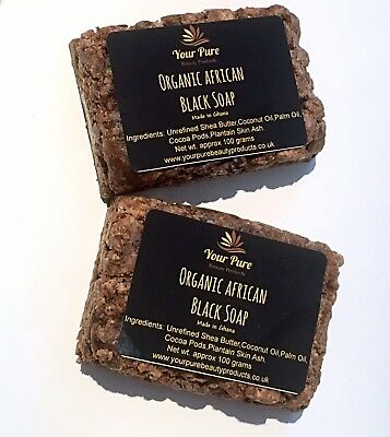 Organic African Black Soap x2-100g Bars (Made in Ghana)