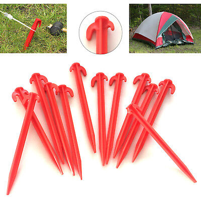 """25x RED HEAVY DUTY CAMPING 8"""" PLASTIC TENT PEGS CAMPING GROUND STAKES HOOKS"""