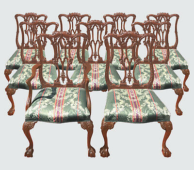 Set Of 8 Antique Chinese Chippendale Highly Carved Mahogany Dining Room Chairs