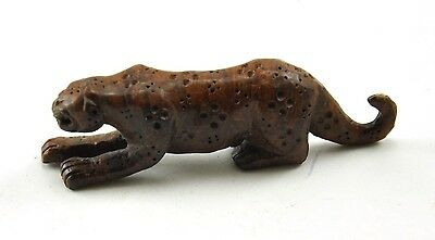 Vintage Leopard Boxwood Natural Wood Hand Carved Carving Figurine Miniature