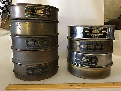 Vintage Mining Brass Testing Sieves Lot of 9 * Industrial rescue, home decor.