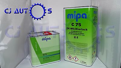 2K Ms Clear Coat Lacquer And Hardener Kit Mipa C75 5L 5 Litre H5 Extra Fast 2.5L