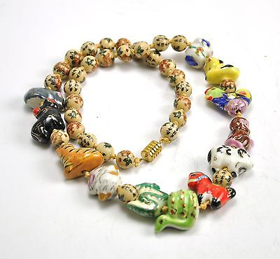 Vintage Chinese Zodiac Animal Hand Paint Porcelain Necklace Bead Character 24""