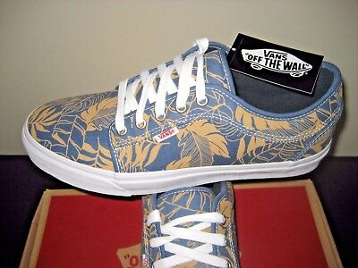 479a5e4050 Vans Chukka Low Leaves Blue Twill Canvas Skate Shoes Size 11 NWT VN-0ZUMFHC
