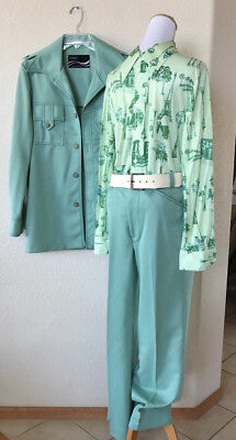 Vintage 70's Mint Green DISCO Mens 2 PC LEISURE SUIT Blazer 42L + Shirt Costume