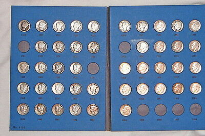 25 Mercury Dimes and 18 Roosevelt Dimes Once A Year Silver Dimes Whitman Folder