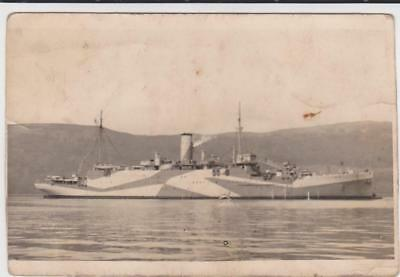 Rp Royal Navy Ship In Camouflage  Real Photo  C 1945