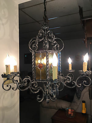 Antique Gothic Cast Iron 6 Arm 7 Light Chandelier 12 Colored Glass Panels Works