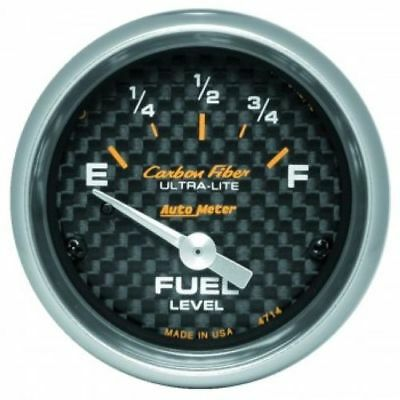 "Auto Meter 4714 2-1/16"" Carbon Fiber Electric Fuel Level Gauge, 0-90 Ohm"