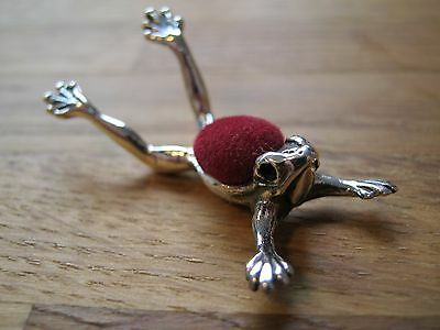 English Hallmarked Sterling Silver Frog Pin Cushion - Great Detail Blue Velvet