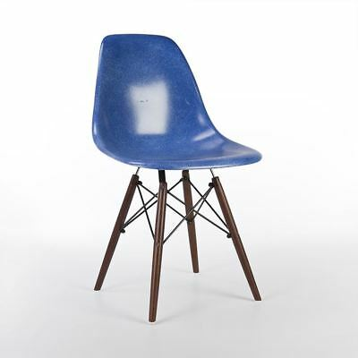 Blue Herman Miller Original Authentic Eames DSW Side Shell Chair