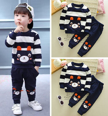 New Kids Baby Boy Cute Bear Hoody Fleeces T-shirt Tops Pants Trousers Outfit Set