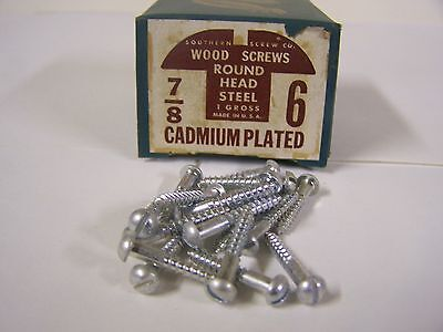 "#6 x 7/8"" Round Head Cadmium Plated Wood Screws Slotted Made in USA - Qty.144"