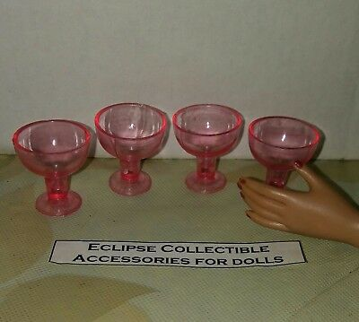 Set of 4 Siesta  Rose Margarita Glasses Goblets 4 Your 16 Inch Fashion Dolls
