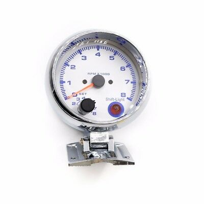 """3 3/4"""" Car Universal 0-8000 RPM Gauge with Inter Shift Light Silver Color Analog"""