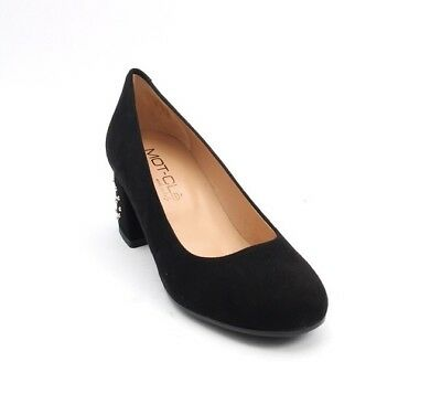 35616f90b47 MOT-CLe 696b Black Suede Round Toe Block Studded Heel Pumps 36.5   US 6.5