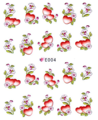 Nail Art Sticker Water Decals Transfer Stickers Flowers Hearts (E004)