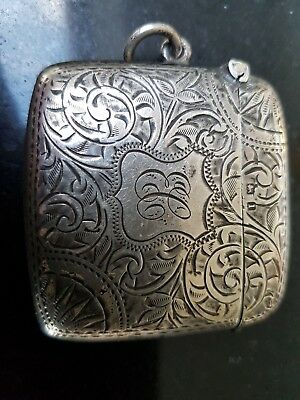 Antique solid silver vesta case