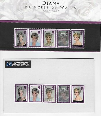 Princess Diana 2 Sets One From The Royal Mint One From Usps  10 Mint Stamps