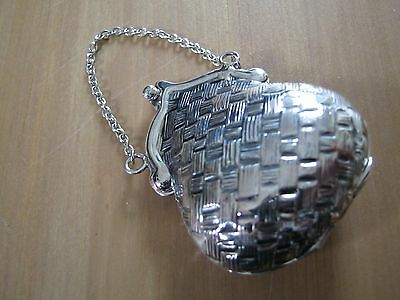 A Beautiful Yet Unusual Sterling Silver Purse Shaped Vesta Case / Box Chatelaine