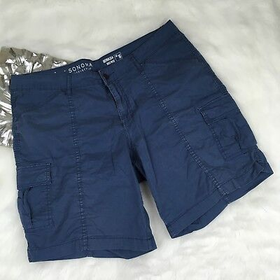 Sonoma Navy Blue Mid Rise Bermuda Shorts Size 16 Casual Stretch Fit