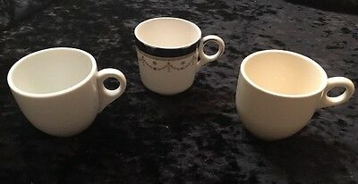 Lot Of 3 ANTIQUE CHILD'S MILK MUG CUPS Victorian Cobalt & 2 Ironstone