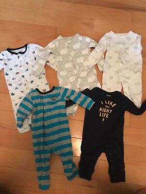 Baby Boy Carter's Lot Of 5 One Piece Outfits Button Ups Size Newborn