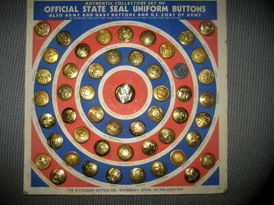Vintage Uniform Buttons US STATE SEAL Buttons,set of 51
