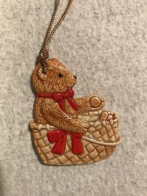 Vintage 1984 Gordon Fraser Schmid Teddy Bear Ornaments A Basket Red Bow Japan