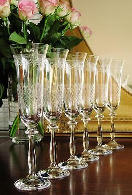 "Beautiful Bohemia Crystal ""Pall Mall"" Champagne flutes, boxed set of 6."