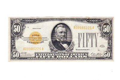 Series Of 1928 $50 Gold Certificate Currency Note No Reserve